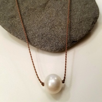 Single Silk White Pearl necklace