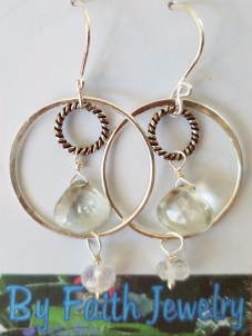 Green Amethyst & Moonstone earrings