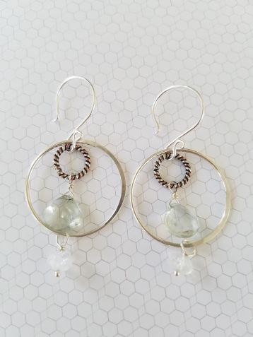 Green Amethyst & Moonstone Circle earrings