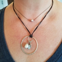 Encircled Necklace and Simple Pearl Necklace